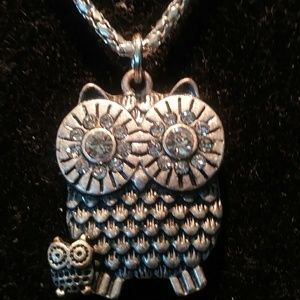 Silver plated owl charm necklace